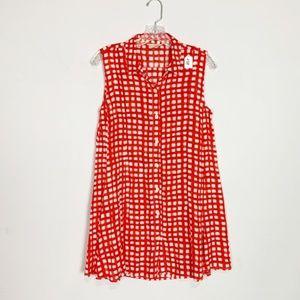 11.1 Tylho anthro red & white gingham shirt dress